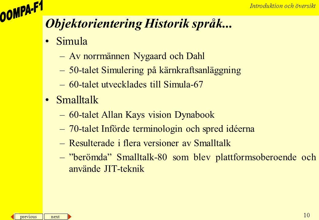 Objektorientering Historik språk...
