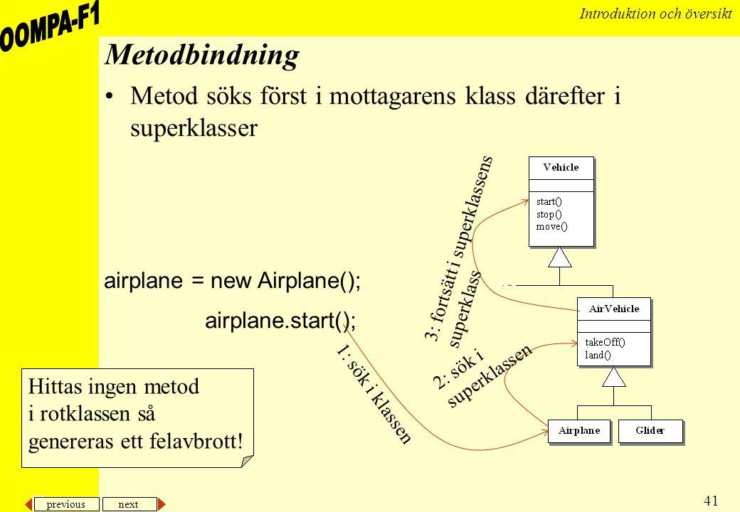 Metodbindning Metod söks först i mottagarens klass därefter i superklasser. 3: fortsätt i superklassens.