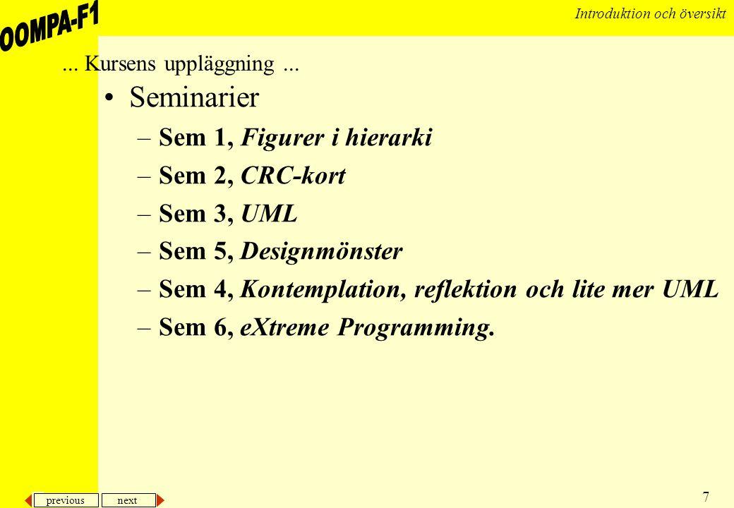 Seminarier Sem 1, Figurer i hierarki Sem 2, CRC-kort Sem 3, UML