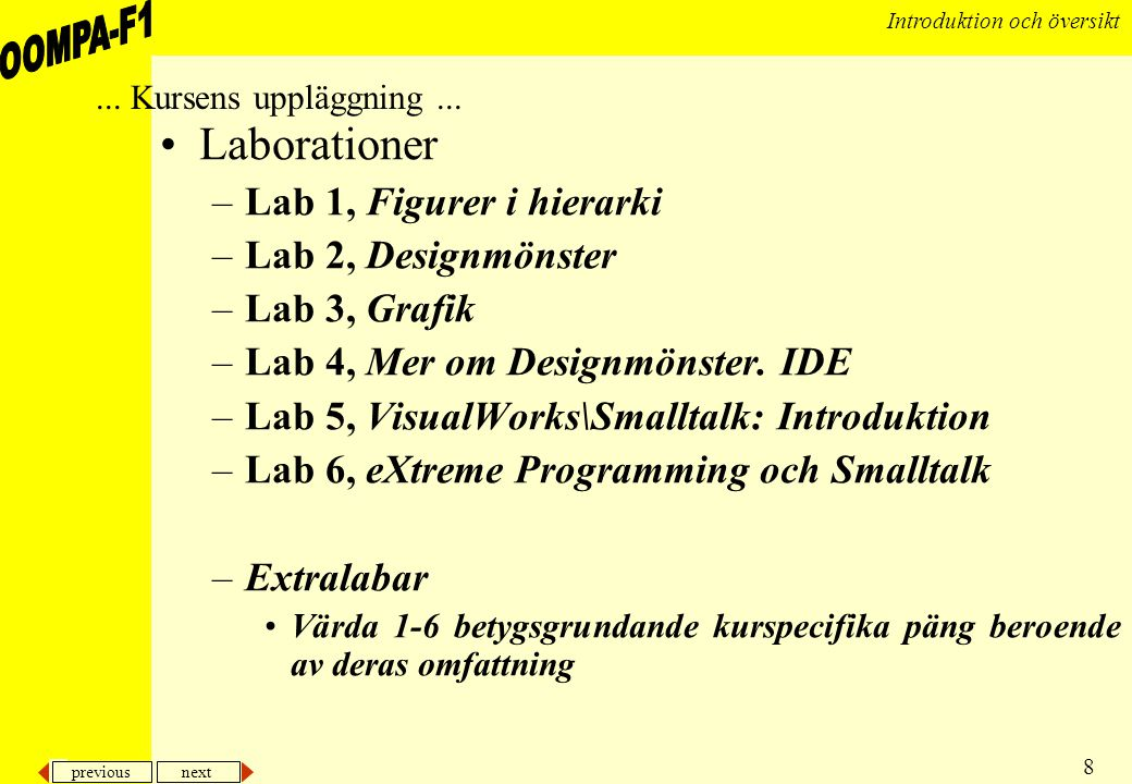 Laborationer Lab 1, Figurer i hierarki Lab 2, Designmönster