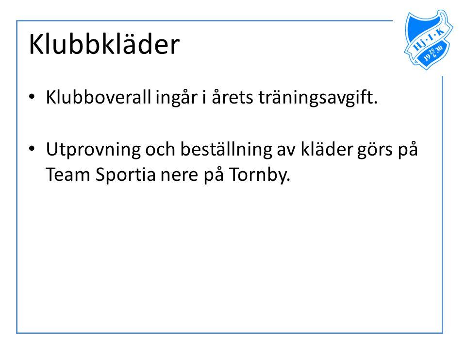 Klubbkläder Klubboverall ingår i årets träningsavgift.
