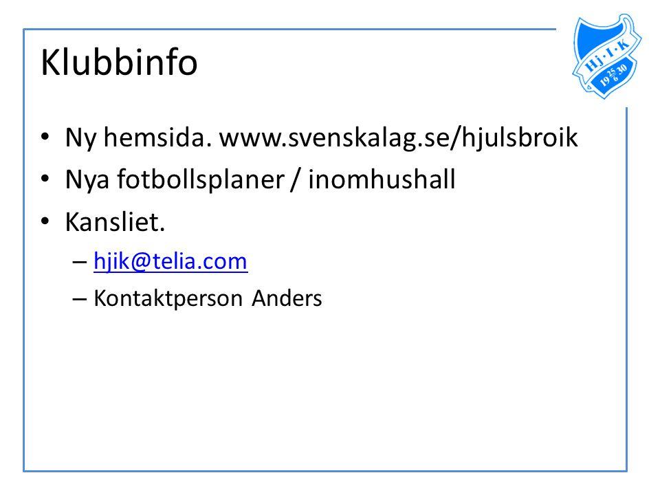Klubbinfo Ny hemsida. www.svenskalag.se/hjulsbroik