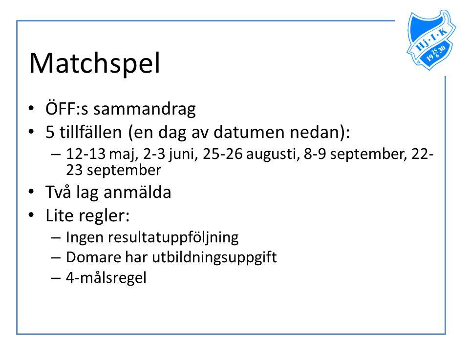 Matchspel ÖFF:s sammandrag 5 tillfällen (en dag av datumen nedan):