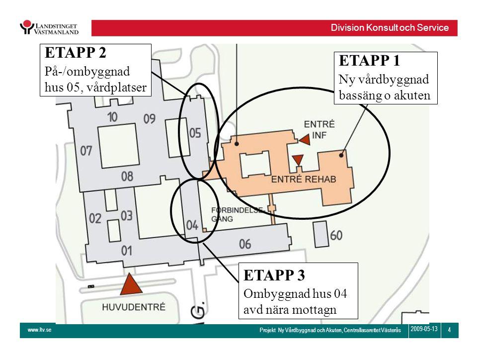 ETAPP 2 ETAPP 1 ETAPP 3 På-/ombyggnad hus 05, vårdplatser