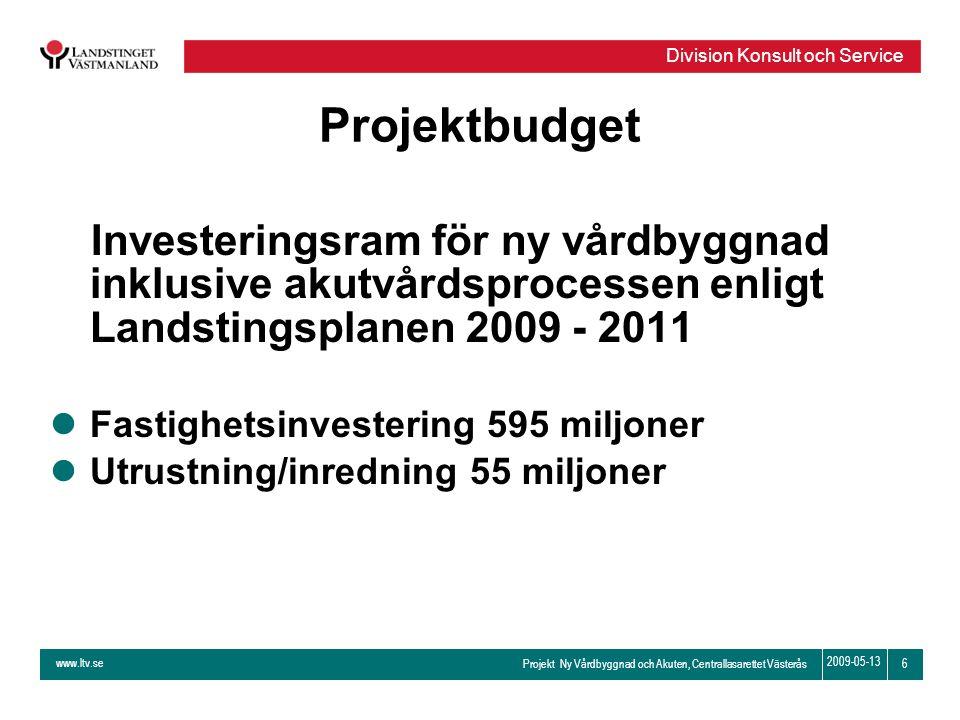 Projektbudget Investeringsram för ny vårdbyggnad inklusive akutvårdsprocessen enligt Landstingsplanen 2009 - 2011.