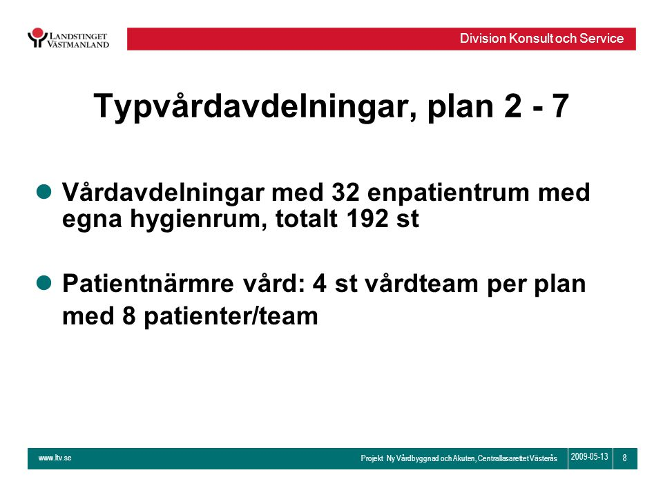 Typvårdavdelningar, plan 2 - 7