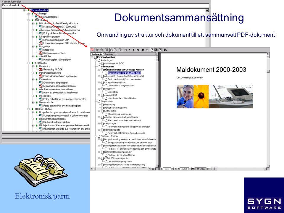 Omvandling av struktur och dokument till ett sammansatt PDF-dokument