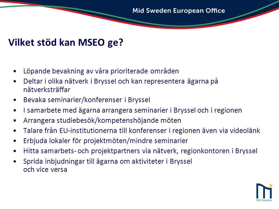 Vilket stöd kan MSEO ge Löpande bevakning av våra prioriterade områden.