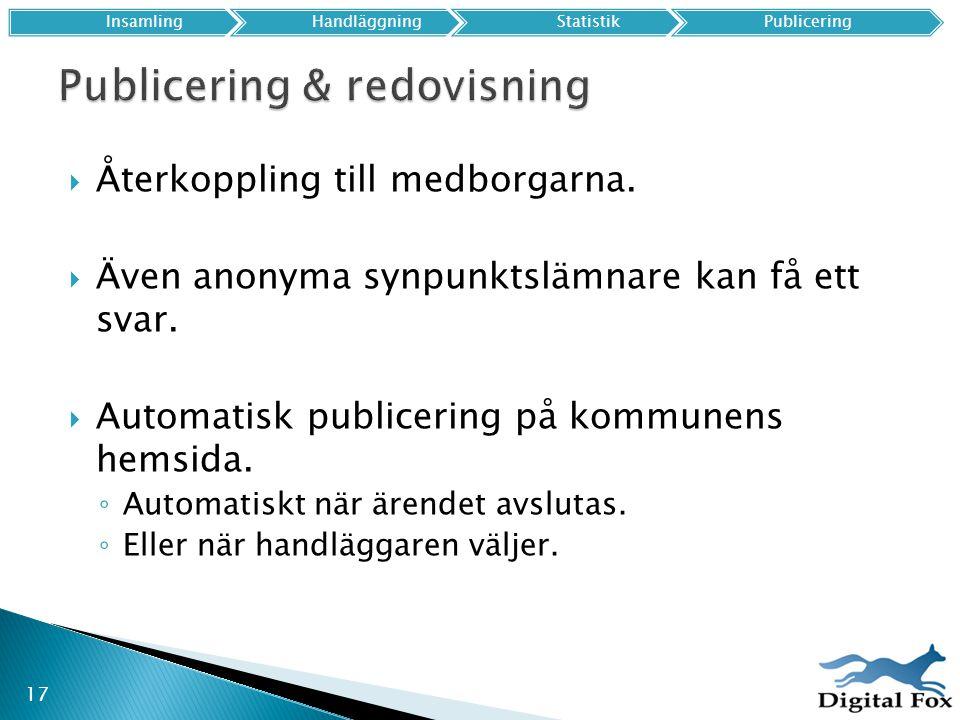 Publicering & redovisning
