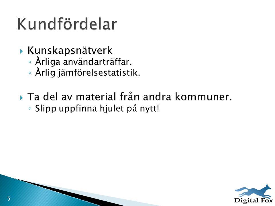 Kundfördelar Kunskapsnätverk Ta del av material från andra kommuner.