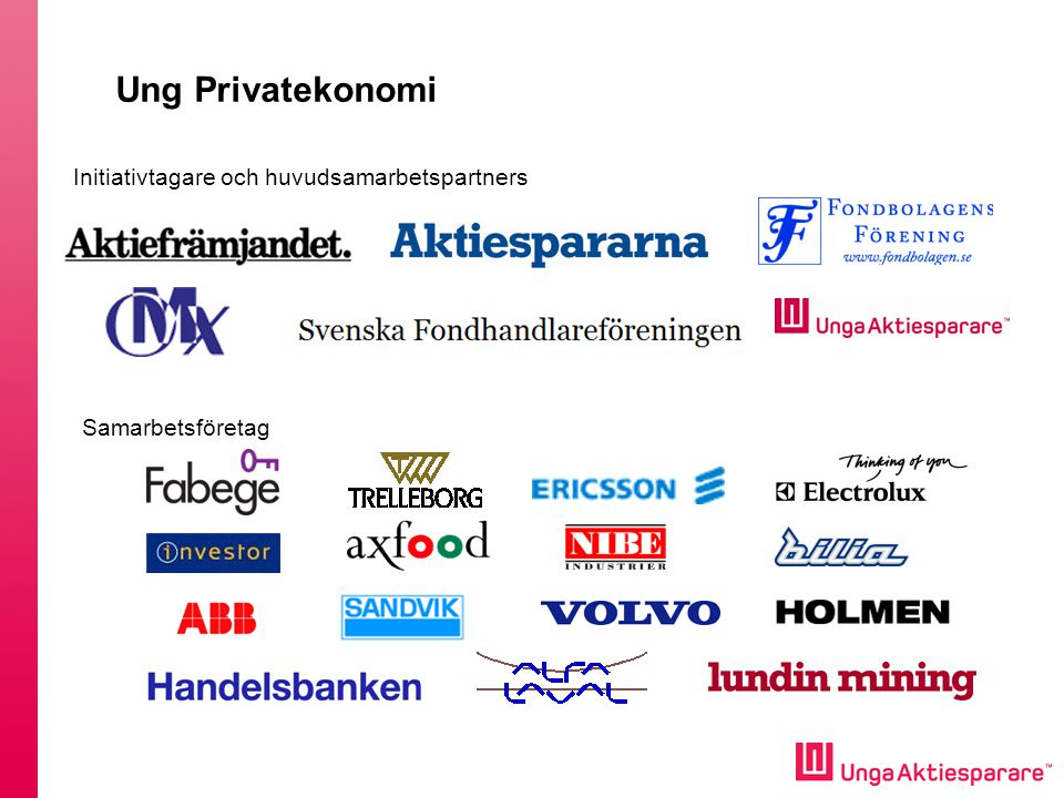 Ung Privatekonomi Initiativtagare och huvudsamarbetspartners