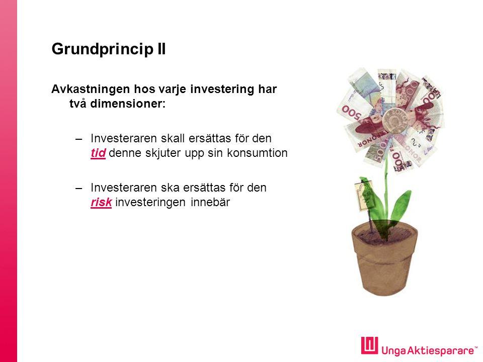 Grundprincip II Avkastningen hos varje investering har två dimensioner: Investeraren skall ersättas för den tid denne skjuter upp sin konsumtion.