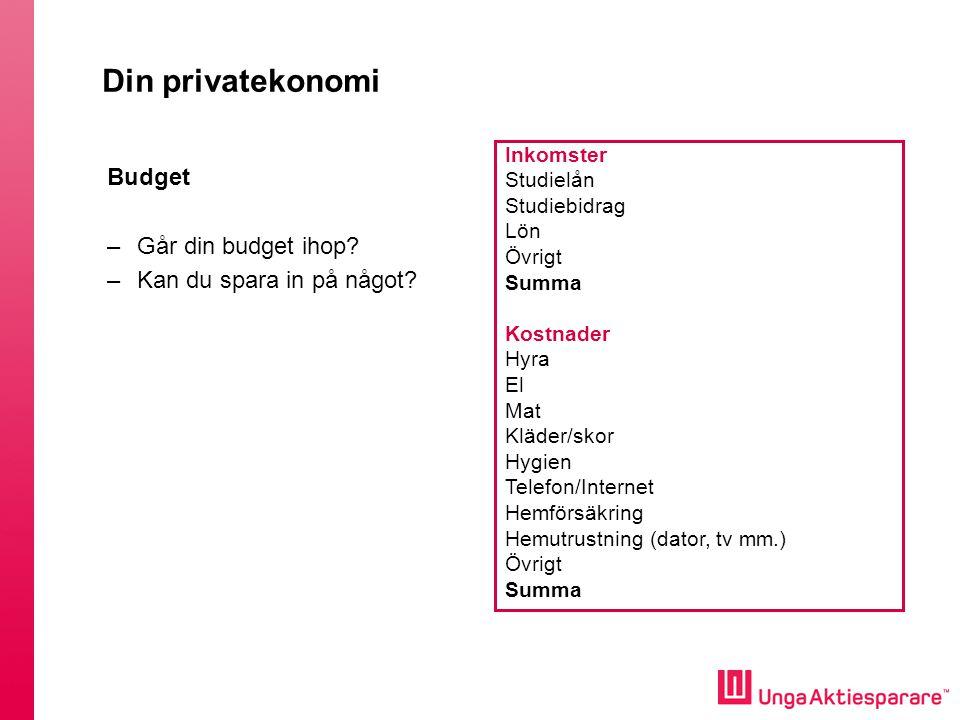 Din privatekonomi Budget Går din budget ihop