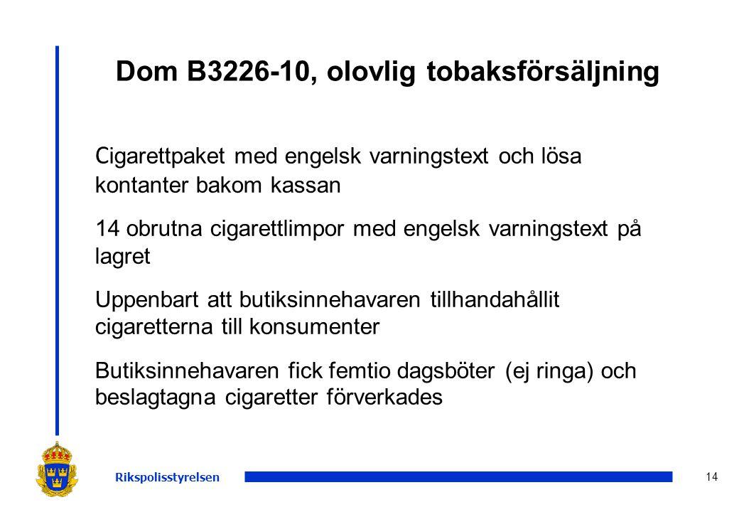 Dom B3226-10, olovlig tobaksförsäljning