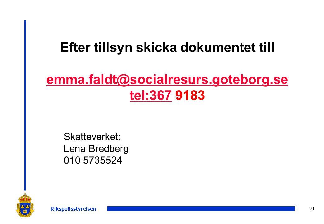 Efter tillsyn skicka dokumentet till emma.faldt@socialresurs.goteborg.se tel:367 9183