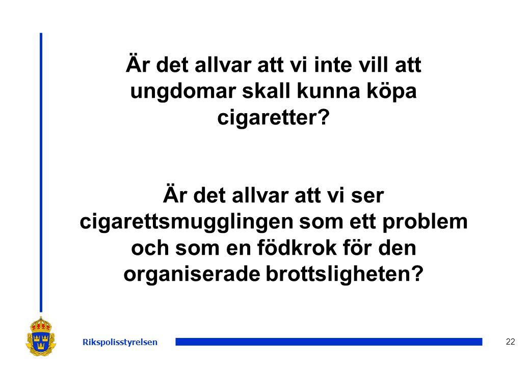 Är det allvar att vi inte vill att ungdomar skall kunna köpa cigaretter Är det allvar att vi ser cigarettsmugglingen som ett problem och som en födkrok för den organiserade brottsligheten