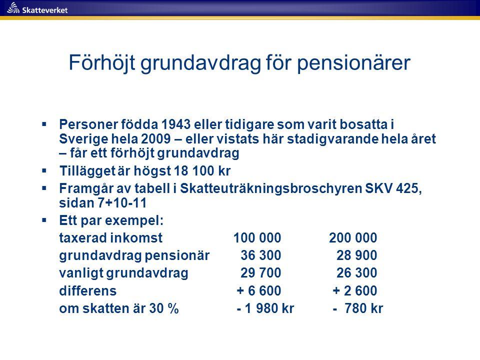 Förhöjt grundavdrag för pensionärer