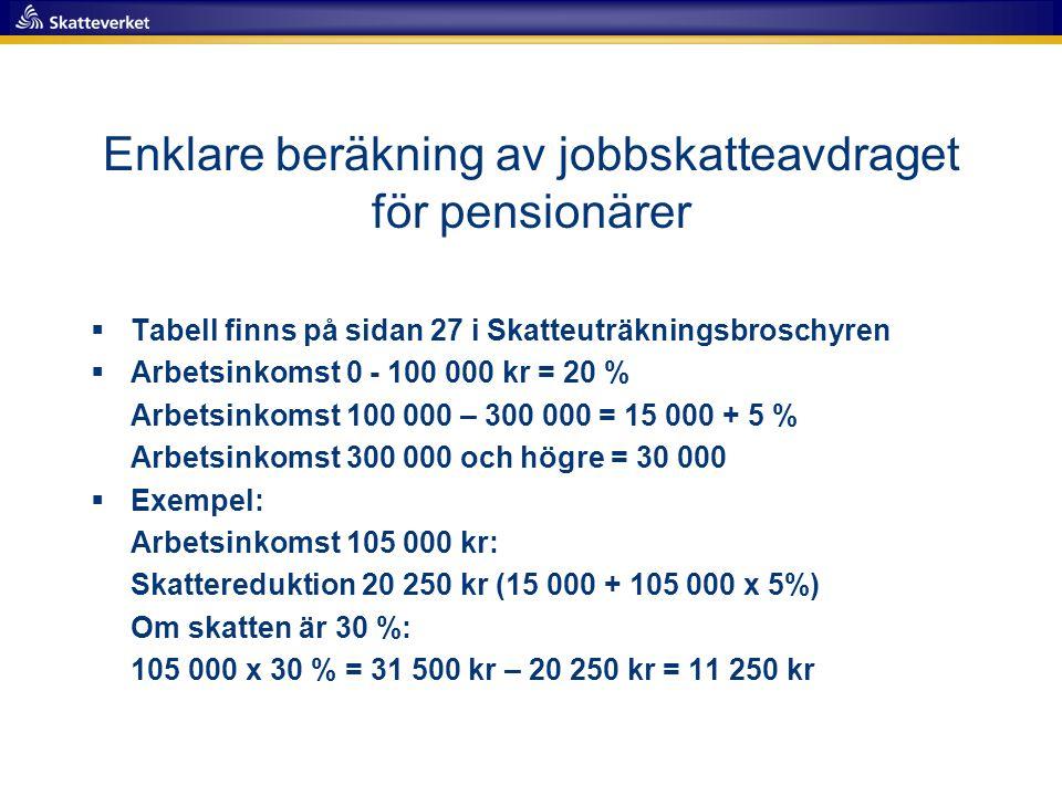 Enklare beräkning av jobbskatteavdraget för pensionärer