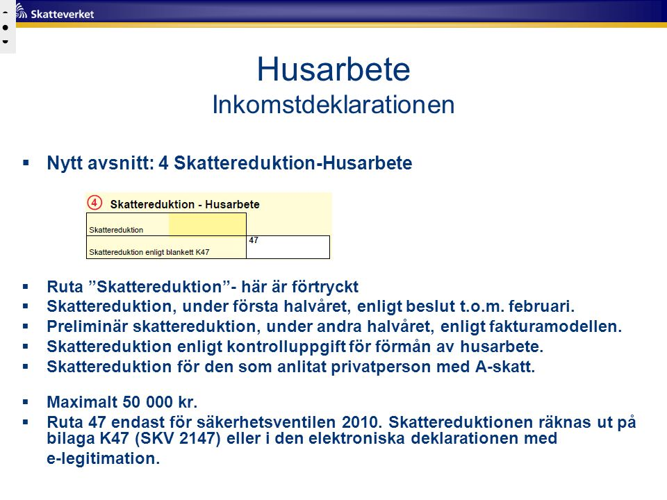 Husarbete Inkomstdeklarationen