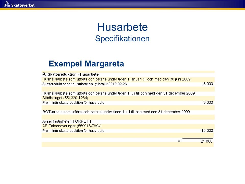 Husarbete Specifikationen