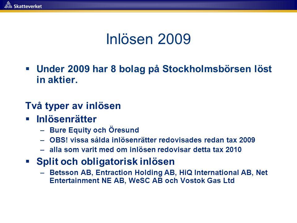 Inlösen 2009 Under 2009 har 8 bolag på Stockholmsbörsen löst in aktier. Två typer av inlösen. Inlösenrätter.