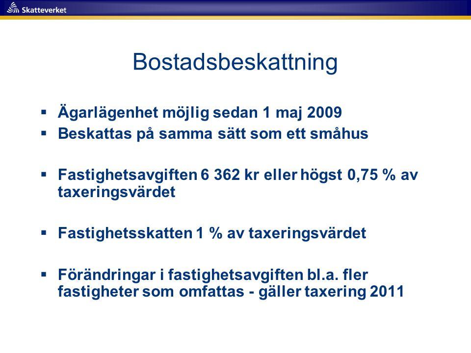 Bostadsbeskattning Ägarlägenhet möjlig sedan 1 maj 2009