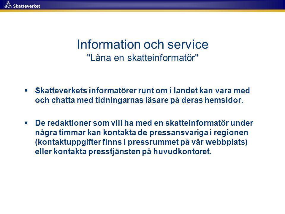 Information och service Låna en skatteinformatör