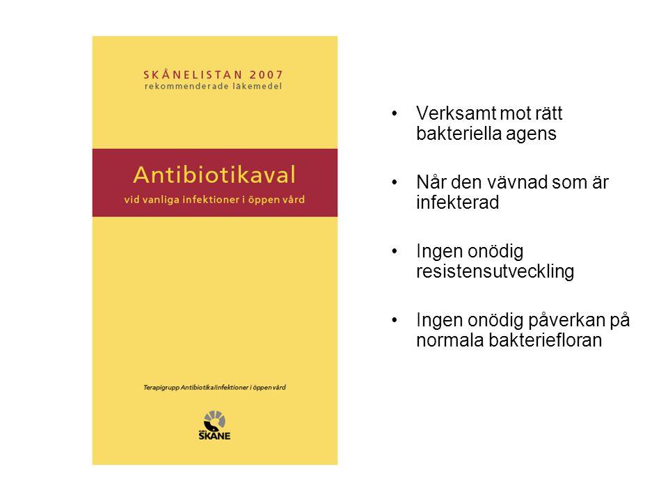 Verksamt mot rätt bakteriella agens