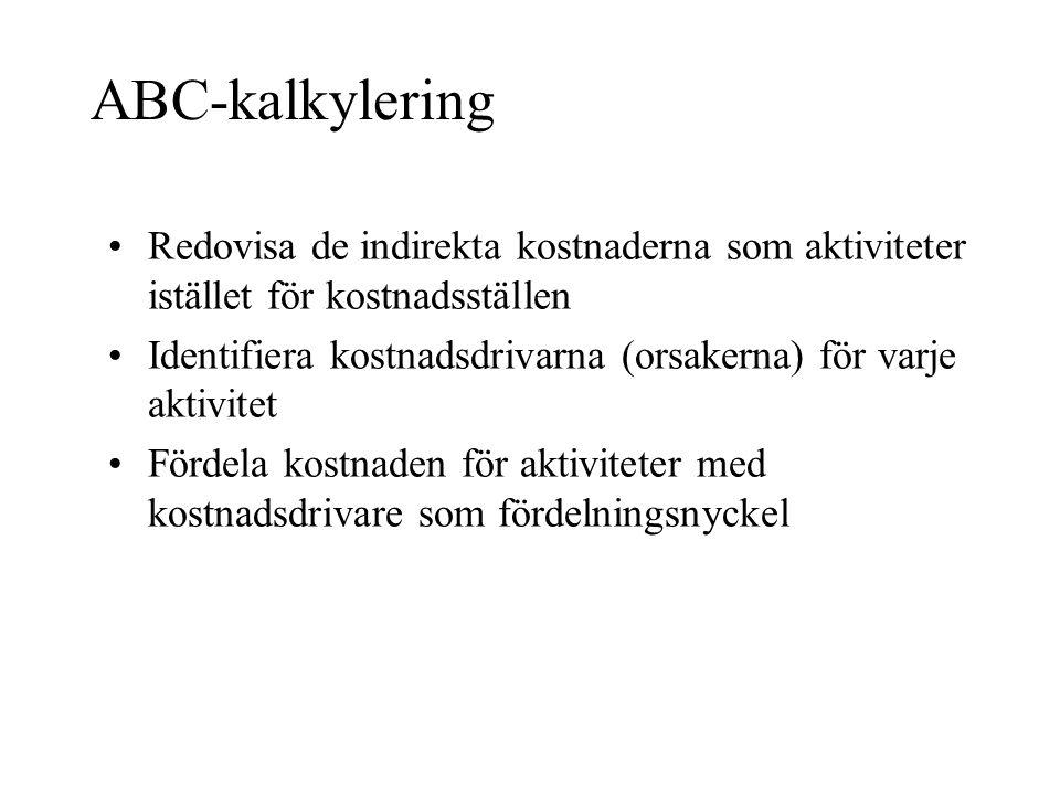 ABC-kalkylering Redovisa de indirekta kostnaderna som aktiviteter istället för kostnadsställen.
