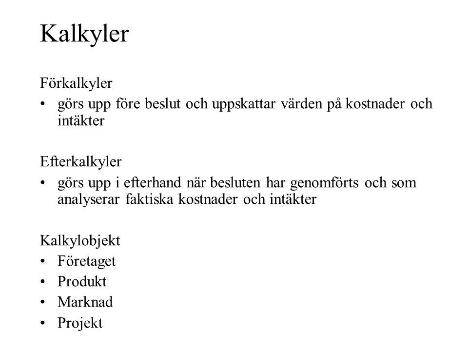 Kalkyler Förkalkyler. görs upp före beslut och uppskattar värden på kostnader och intäkter. Efterkalkyler.