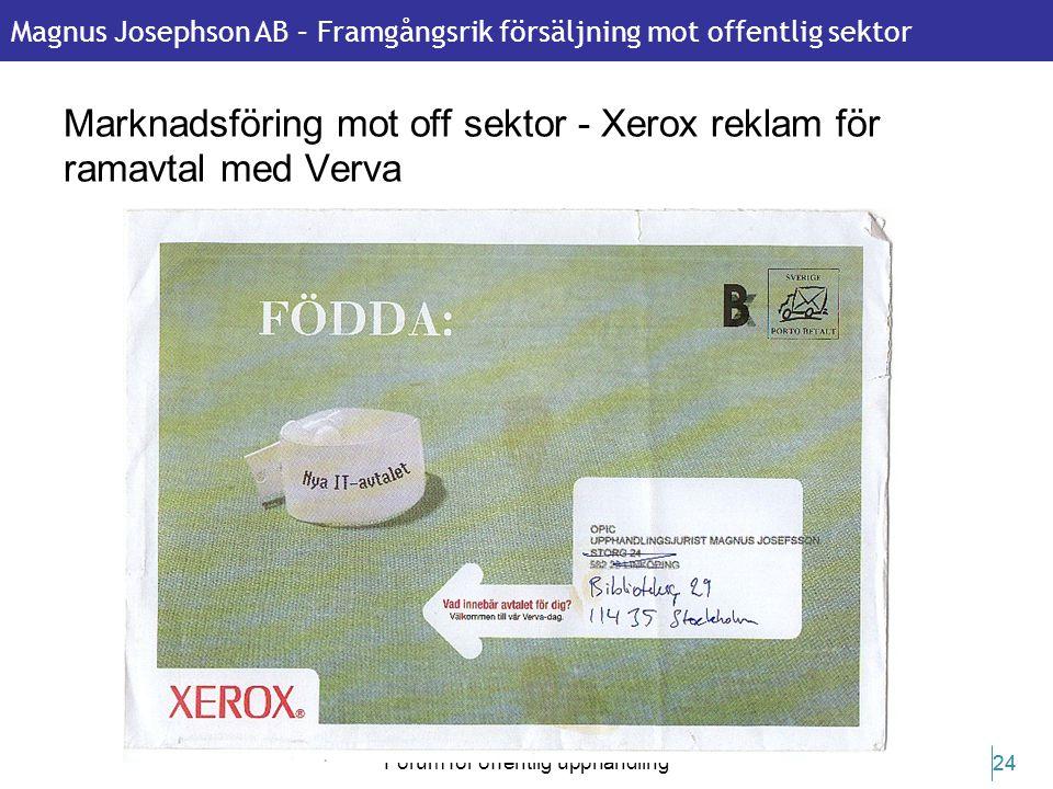 Marknadsföring mot off sektor - Xerox reklam för ramavtal med Verva