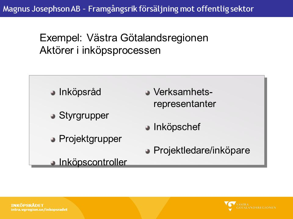 Exempel: Västra Götalandsregionen Aktörer i inköpsprocessen