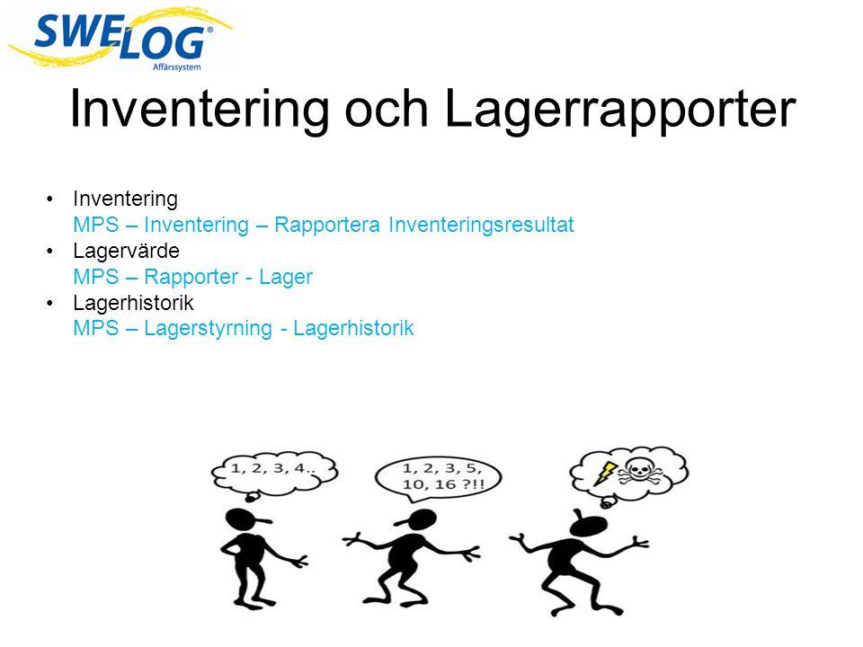 Inventering och Lagerrapporter