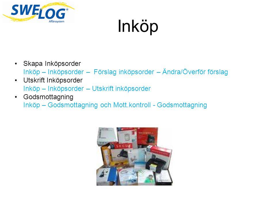 Inköp Skapa Inköpsorder Inköp – Inköpsorder – Förslag inköpsorder – Ändra/Överför förslag.