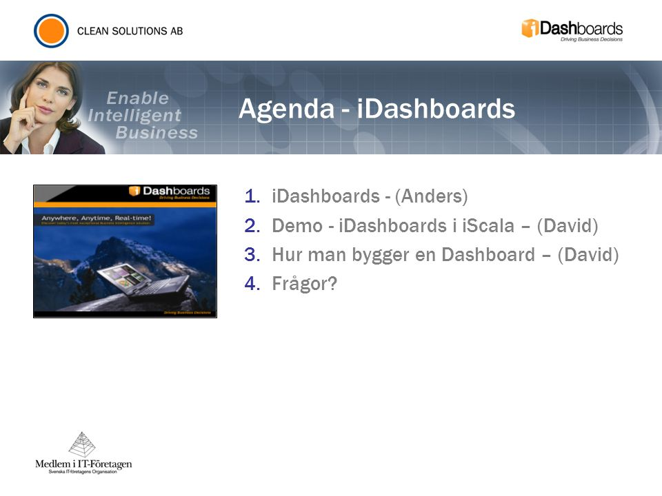 Agenda - iDashboards iDashboards - (Anders)