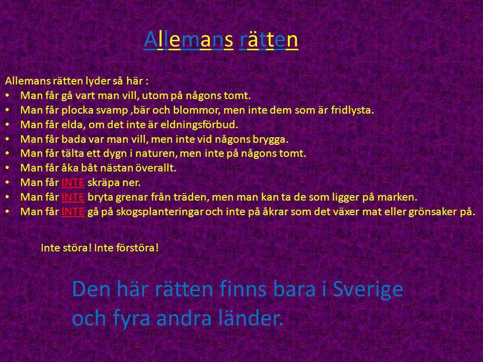 Den här rätten finns bara i Sverige och fyra andra länder.