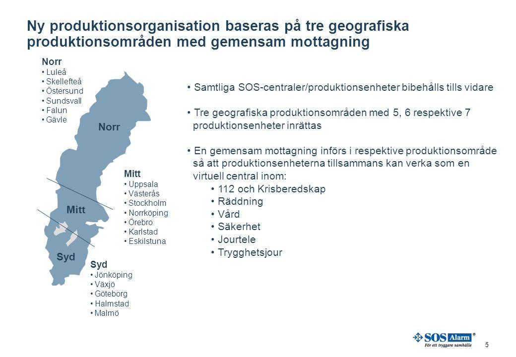 Ny produktionsorganisation baseras på tre geografiska produktionsområden med gemensam mottagning