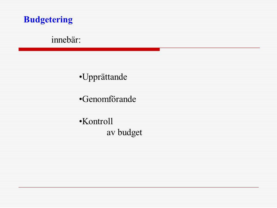 Budgetering innebär: Upprättande Genomförande Kontroll av budget