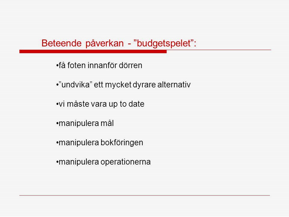 Beteende påverkan - budgetspelet :