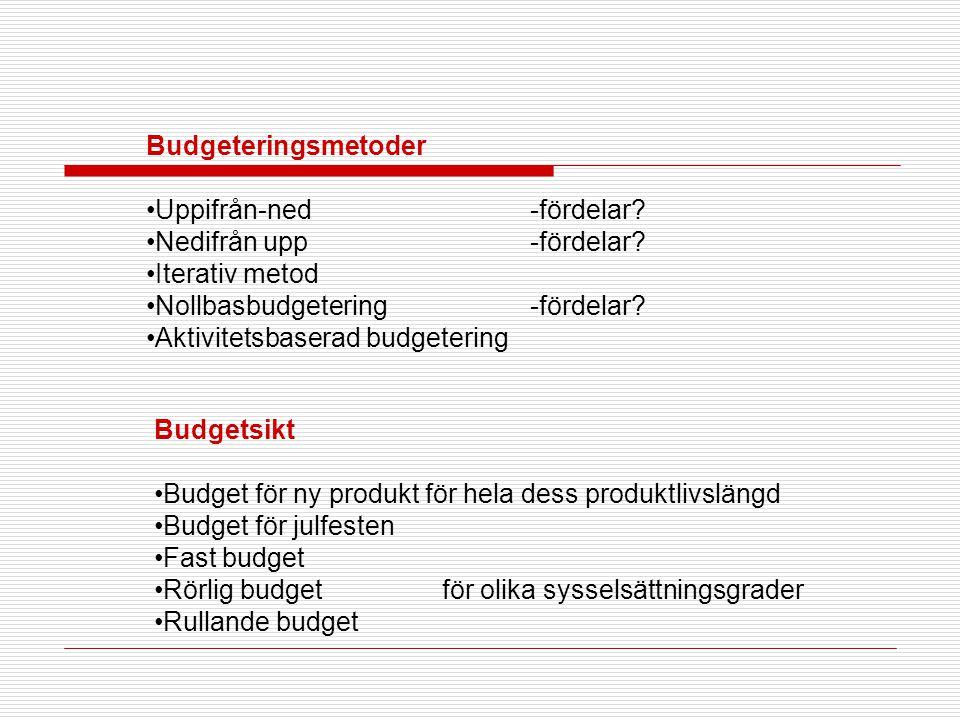 Budgeteringsmetoder Uppifrån-ned -fördelar Nedifrån upp -fördelar Iterativ metod. Nollbasbudgetering -fördelar