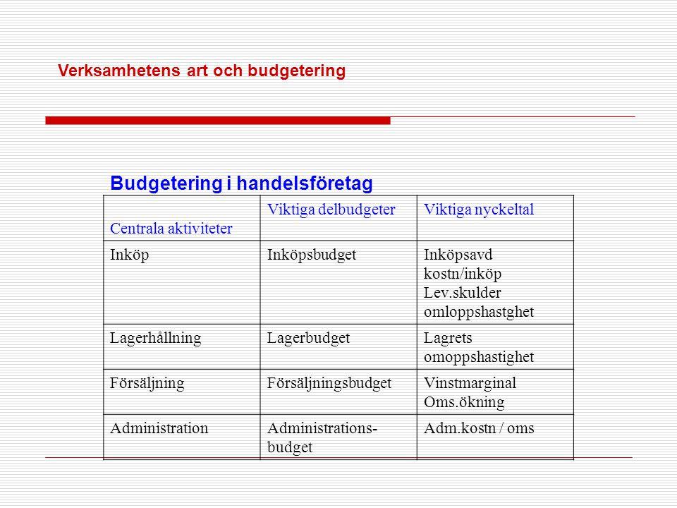 Verksamhetens art och budgetering