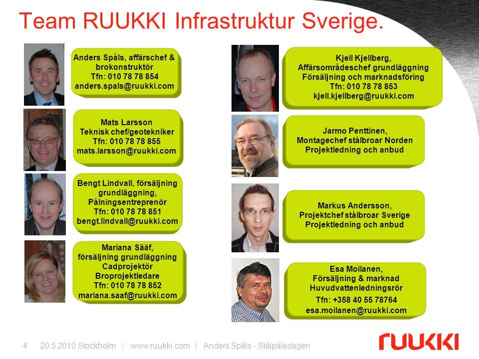 Team RUUKKI Infrastruktur Sverige.