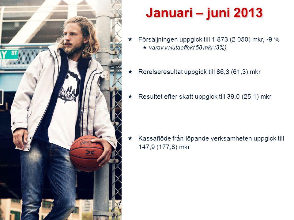 Januari – juni 2013 Försäljningen uppgick till 1 873 (2 050) mkr, -9 %