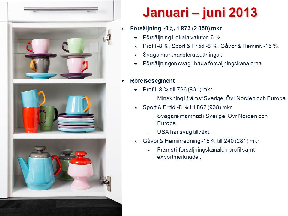 Januari – juni 2013 Försäljning -9%, 1 873 (2 050) mkr