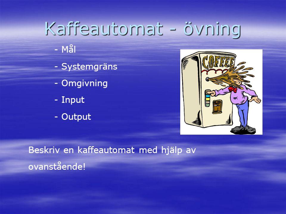 Kaffeautomat - övning - Mål - Systemgräns - Omgivning - Input - Output