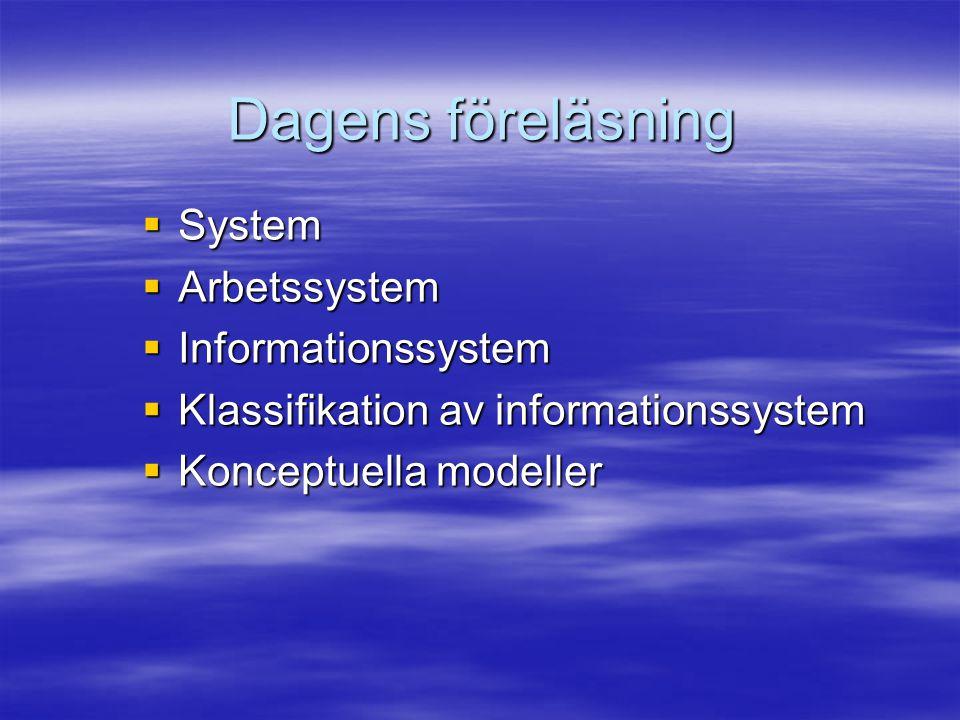Dagens föreläsning System Arbetssystem Informationssystem