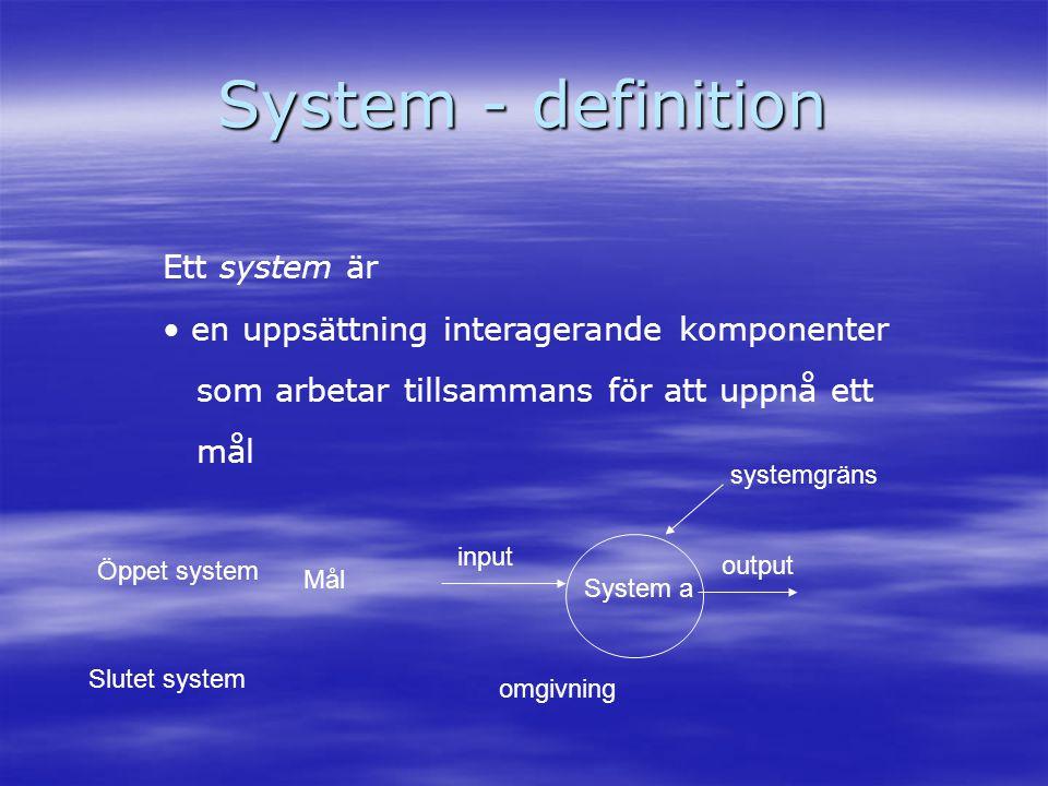 System - definition Ett system är