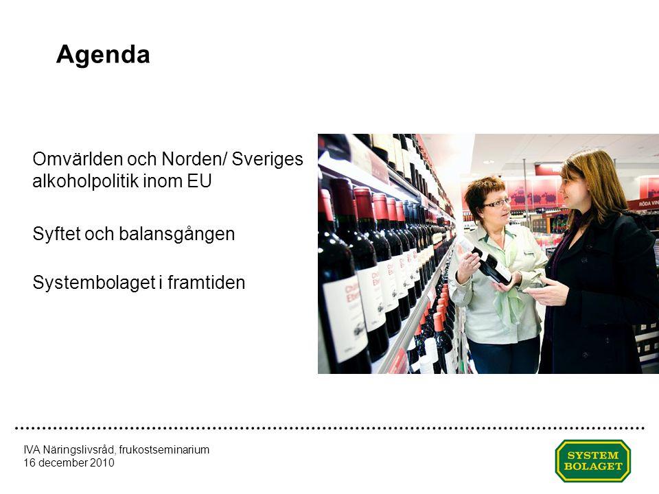 Agenda Omvärlden och Norden/ Sveriges alkoholpolitik inom EU