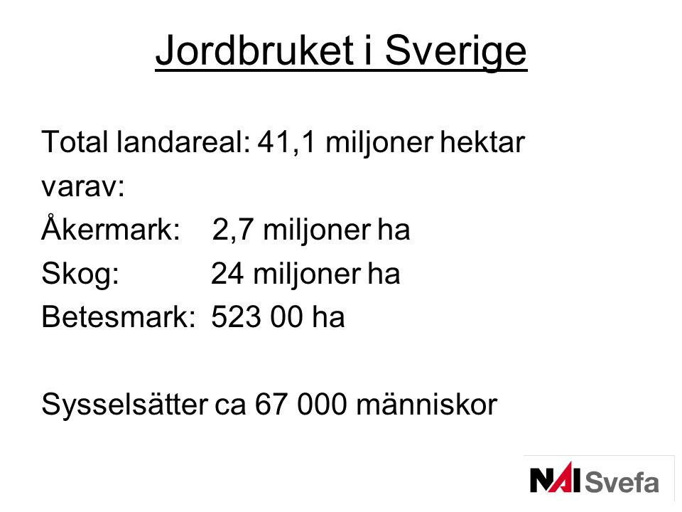 Jordbruket i Sverige Total landareal: 41,1 miljoner hektar varav: