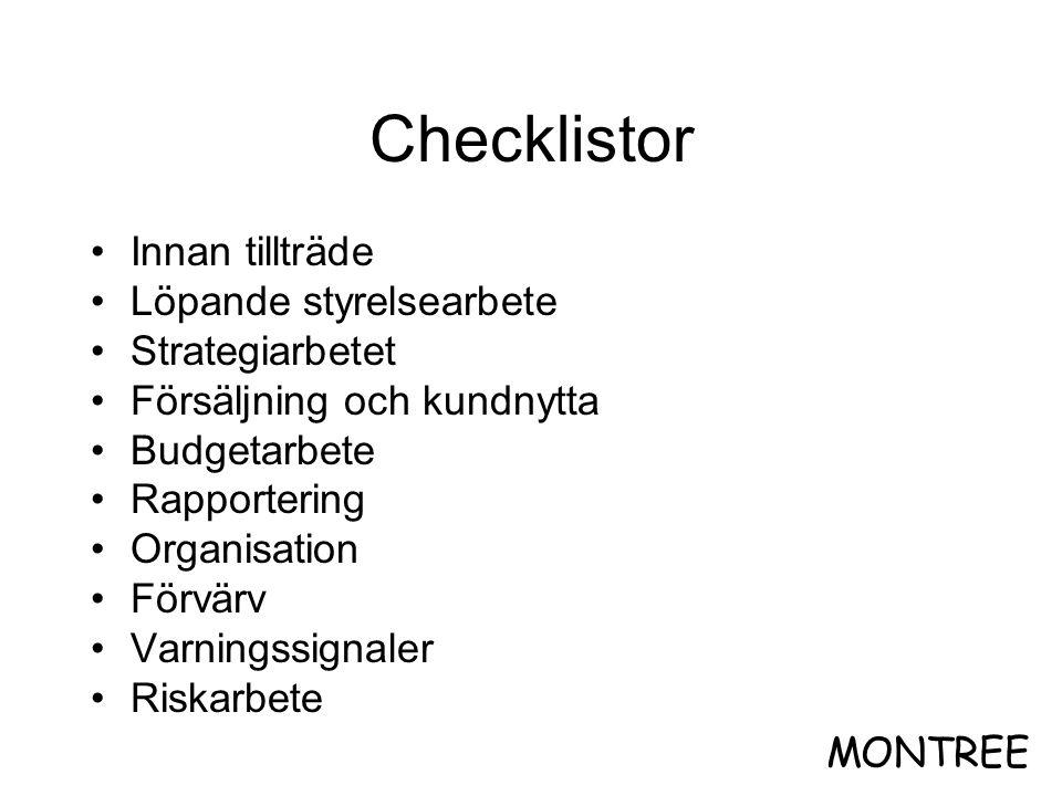 Checklistor Innan tillträde Löpande styrelsearbete Strategiarbetet